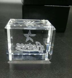 Astros Glass Paper Weight Cube W on top Etched Sports MLB Ba