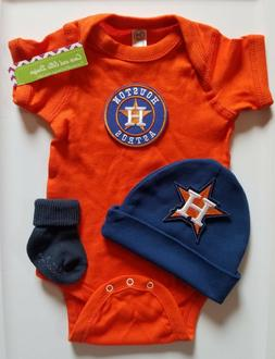 Astros infant/baby 3pc outfit Astros baby clothes Astros bab