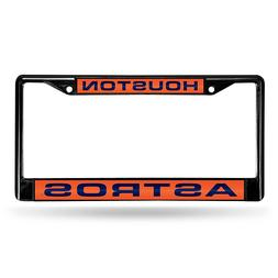 Black Laser Chrome License Plate Frame - Houston Astros