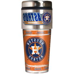 HOUSTON ASTROS 16 OZ STAINLESS STEEL COFFEE TRAVEL MUG WITH