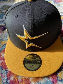 Houston Astros New Era 59Fifty Black With Gold Visor 7 1/4 F