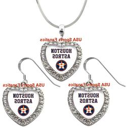 Houston Astros 925 Necklace / Earrings or Set Team Heart Wit