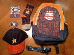 Houston Astros Backpack Fan Package 5 Items Lot