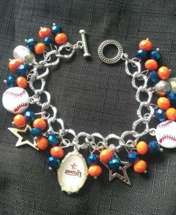 Houston Astros Beaded  Charm Bracelet Jewelry