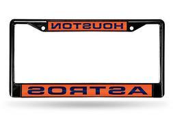 Houston Astros BLACK LASER FRAME Chrome Metal License Plate