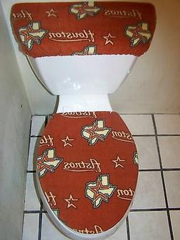 HOUSTON ASTROS FLEECE TOILET SEAT COVER SET