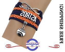 HOUSTON ASTROS Leather Woven Bracelet **FREE SHIPPING**