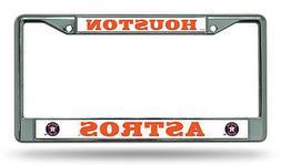 Houston Astros NEW BOLD DESIGN Chrome Frame Metal License Pl