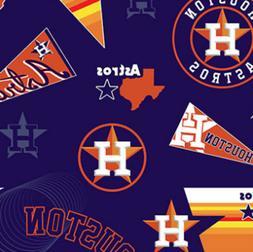 Houston Astros Vintage Navy MLB Baseball Fleece Fabric Print