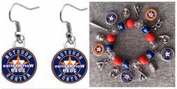 Houston Astros World Series 2017 Champions Bracelet and Earr