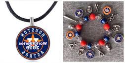 Houston Astros World Series Necklace And Bracelet Set