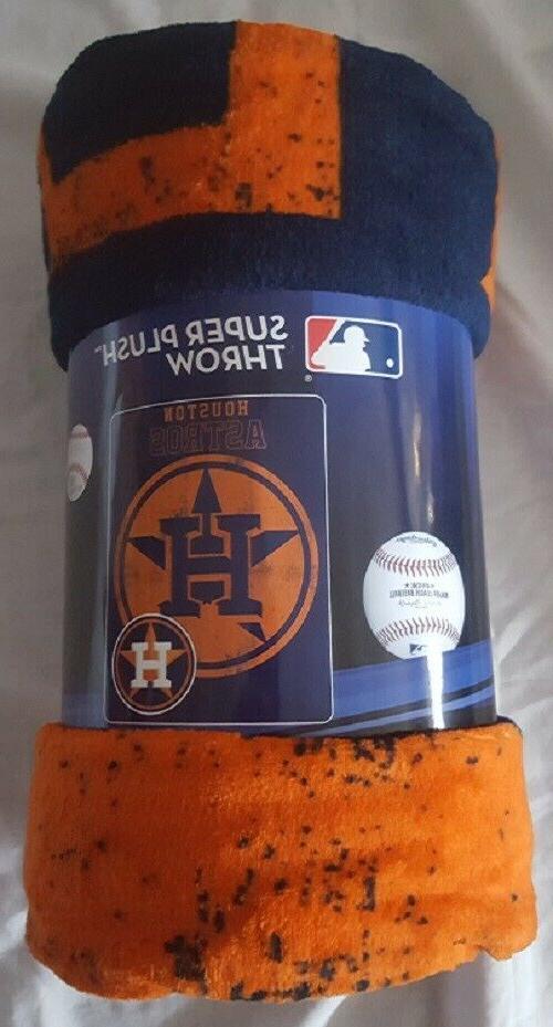 "Houston Astros Plush 46"" by Micro Raschel Throw MLB Triple Play"