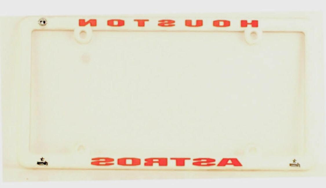 HOUSTON ASTROS TRUCK CAR TAG LICENSE PLATE FRAME WHITE PLAST