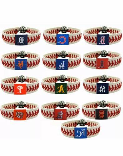 MLB Leather Seam Wristband Red Blue