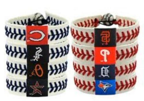 mlb teams leather baseball seam bracelet wristband