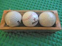 LOT of 3 HOUSTON ASTROS 2000 to 2012 LOGO GOLF BALLS IN WOOD