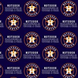 MLB Baseball Houston Astros Blue Cotton Fabric by the Yard