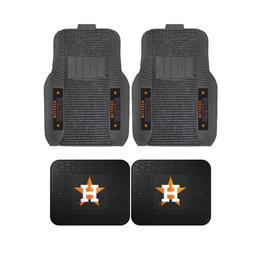 MLB Houston Astros 2-Pc & 4-Pc Deluxe Floor Car Truck Mat Se