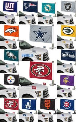 NFL,MLB Team Ambassador Car Flag Hood / Trunk 2 Piece Set-Ne