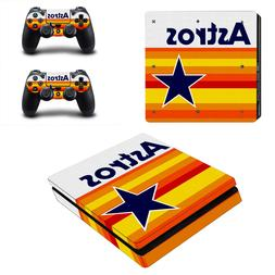 PS4 SLIM - Houston Astros - Vinyl Protector Skin Set + 2 Con