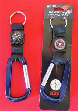 TWO  BEAUTIFUL, HOUSTON ASTROS CARABINER COMPASS KEYCHAINS F
